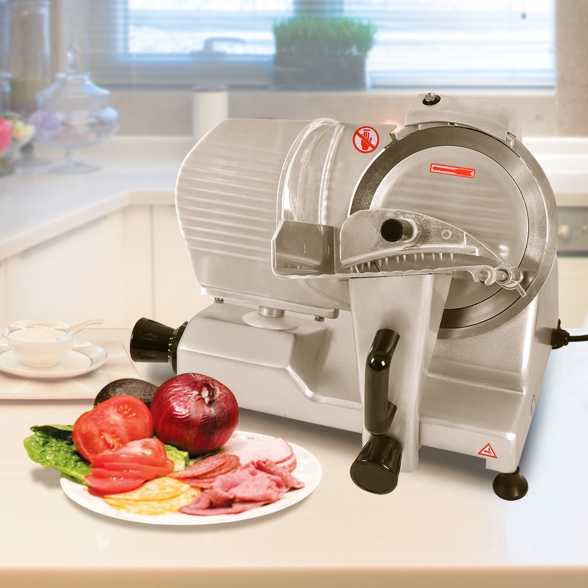 Tangkula 9'' Blade Commercial Meat Slicer Deli Meat Cheese Food Slicer