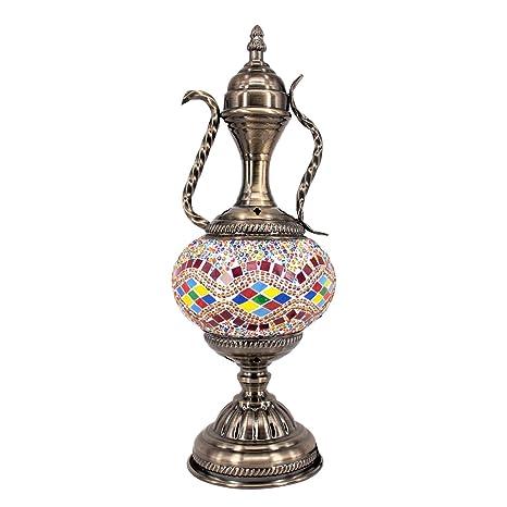 Kindgoo Lámpara Turca Mesilla de Noche Lampara Oriental Marroquí Mesa Vintage Mosaico de Vidrio Multicolor Led Bombilla Incluida Bronze Base ...