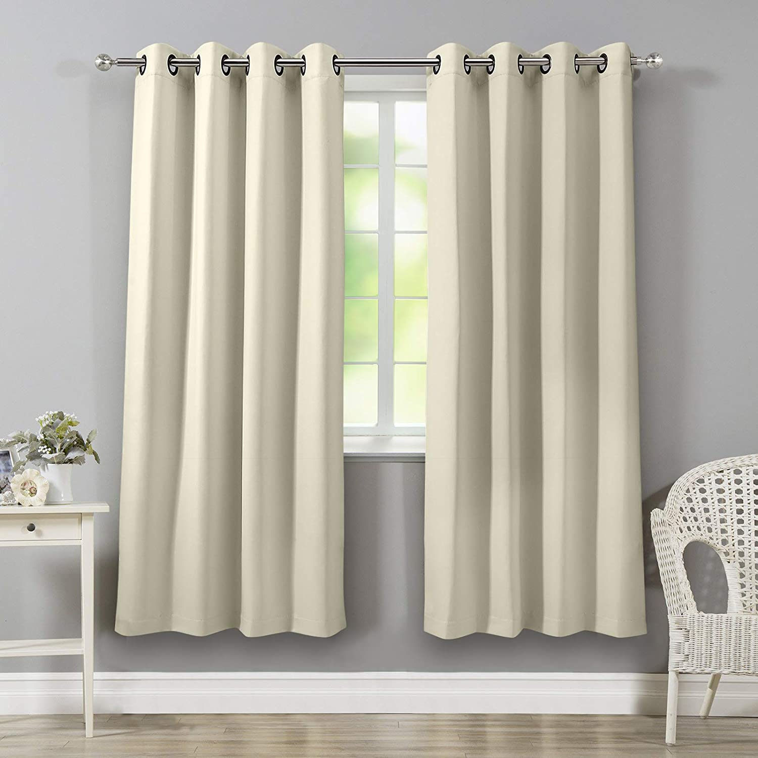 "VEEYOO Blackout Curtains Grommet Top Thermal Insulated Window Curtains and Drapes with Tiebacks for Kitchen, 2 Panels, 52"" W x 84"" L, Beige"