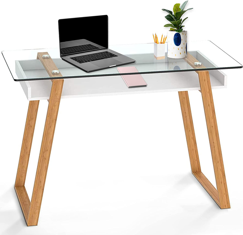 bonVIVO Massimo Glass and Bamboo Office Writing Desk