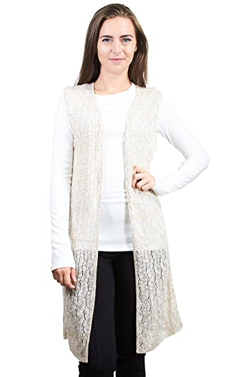 e250483c9b1bc Knit Minded Junior s Sleeveless Pointelle Cardigan Duster (See More Color  and Sizes) at Amazon Women s Clothing store