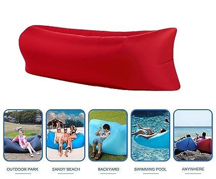 Inflable sofá tumbona resistente al agua saco de dormir de compresión aire camas colchones de aire
