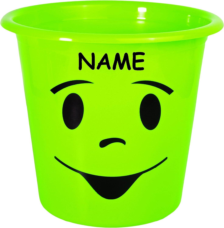Eimer // auch als Blumentopf nutzbar NEON Farben incl lustiges Gesicht bunt Name 1 St/ück /_ Papierkorb // M/ülleimer // Blumentopf Beh/älter 5 Liter ..