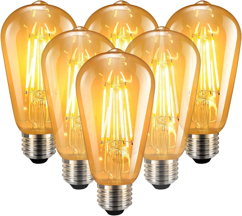 Familybox Vintage Edison Bombilla, 6 Piezas Bombilla LED Vintage E27 ST64 6W (Equivalente a 60W) Retro Edison Lluminación y Decoración Lámpara Ambar Cálido Bombillas Incandescentes