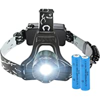 LED Stirnlampe Taschenlampe TOPELEK 5000lm super helle Kopfleuchte Kopflampe 4 Modi, Fokus einstellbar, USB wiederaufladbar, IPX4 wasserdicht, für Joggen Campen Wandern Laufen Radfahren Nachtfischen