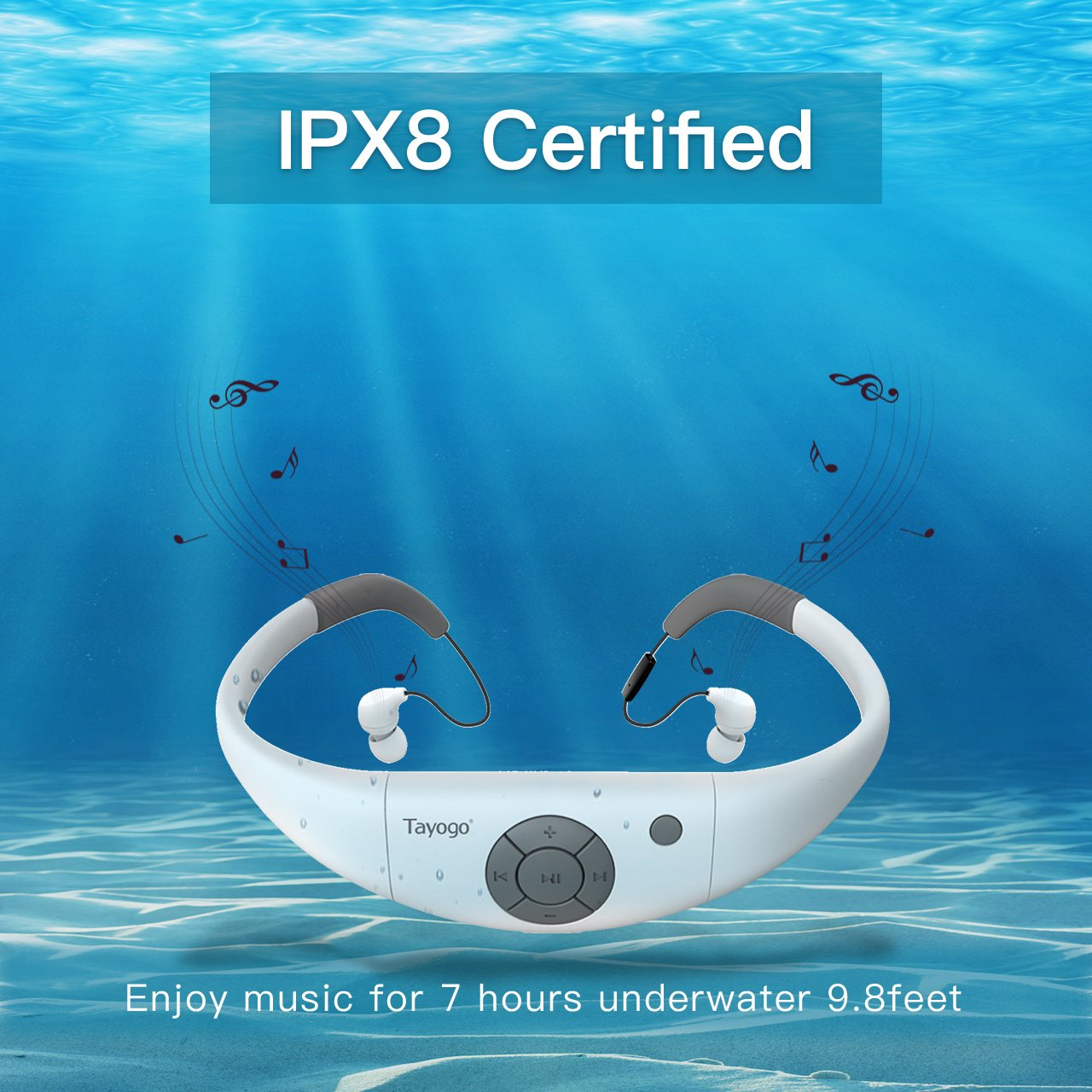 Tayogo Waterproof MP3 player bluetooth swimming Headphones bluetooth 8GB waterproof mp3 player 3M Underwater IPX8 waterproof FM radio for Running Swimming Riding Walking SPA and other Water Sport