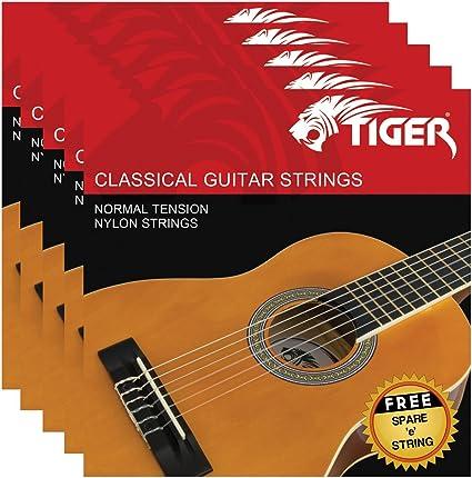 Tiger - Juego de cuerdas para guitarra clásica (5 unidades ...