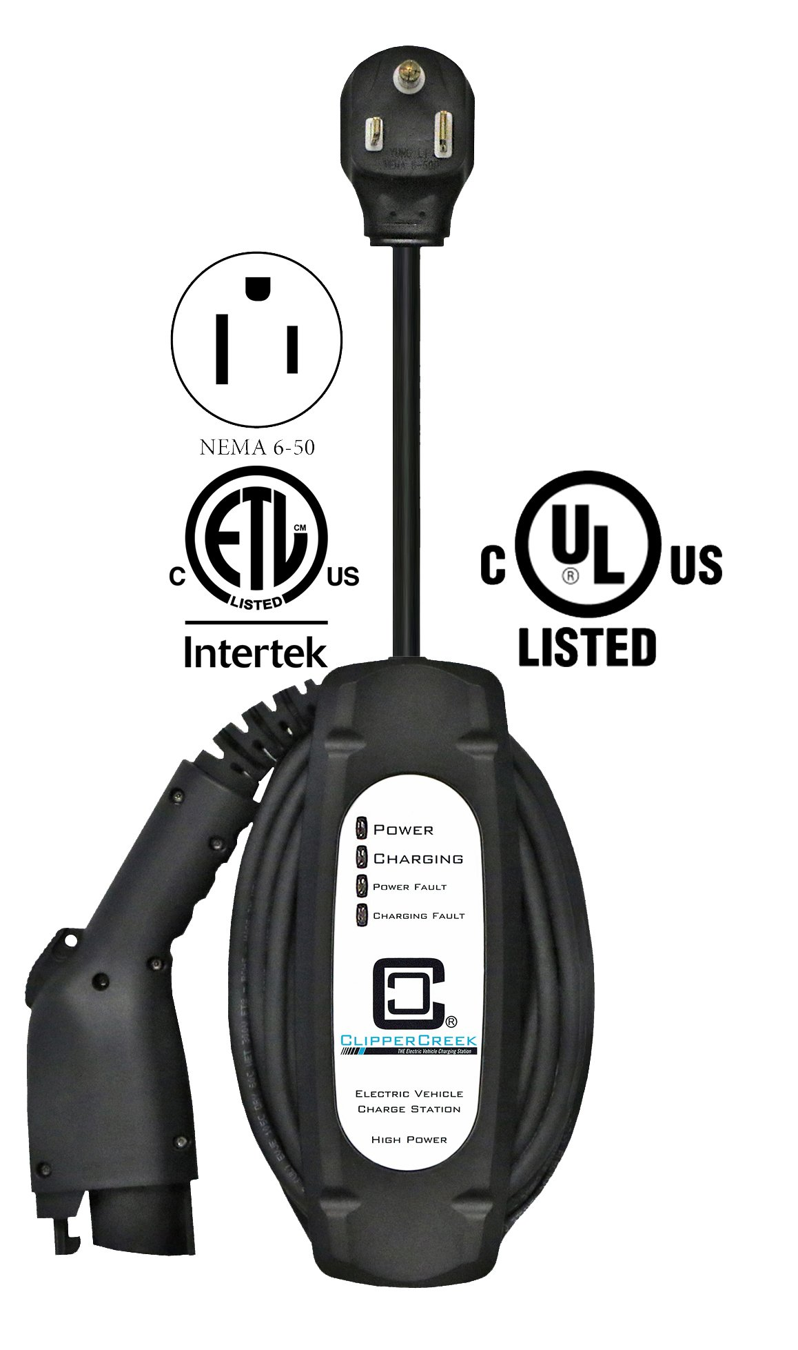 ClipperCreek LCS-20P, Plug-in 16 Amp EVSE, with a NEMA 6-50 Plug, with 25 ft Cable, Safety Certified, Made in America by ClipperCreek