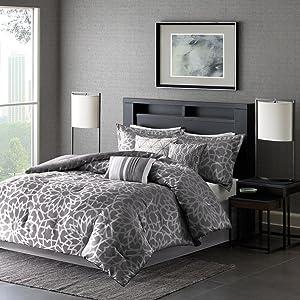 Madison Park Carlow 7 Piece Comforter Set, Grey, King