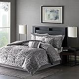 Madison Park MP10-2373 Carlow 7 Piece Comforter Set, Queen, Grey