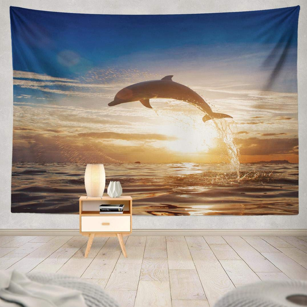 3D Dolphins Leaping Moonlight Tapestry Wall Hanging Hippie Tapestries Home Decor