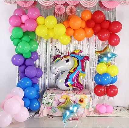Amazon.com: Guirnalda de globos, arco iris, unicornio, kit ...