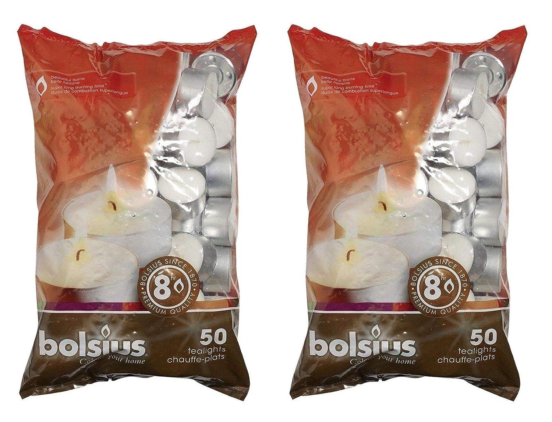 Bolsius 103630519700Bougie chauffe-plat, Cire de paraffine, Blanc, Lot de 50