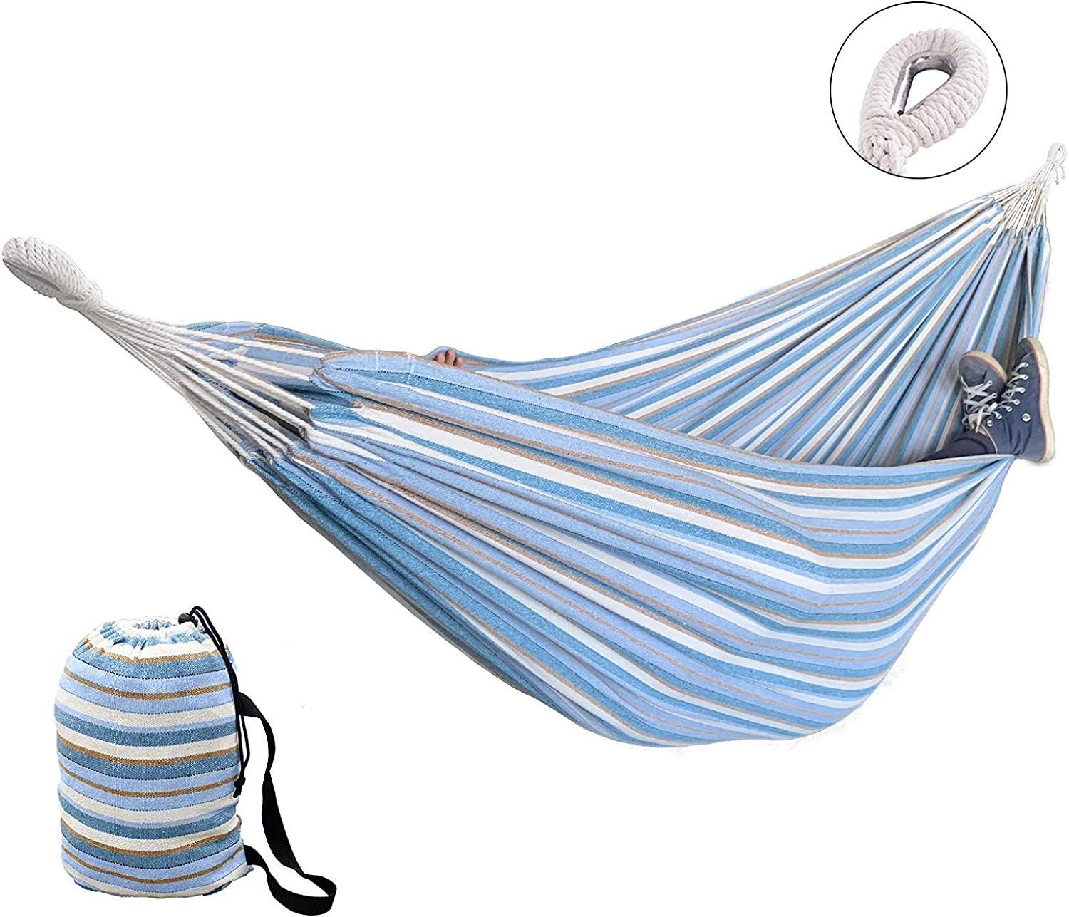 LOVE STORY 10FT Single Multipurpose Soft Woven Brazilian Camping Hammock Includes Portable Bag, for Garden Backyard Patio Outdoor and Indoor Use, Striped Blue