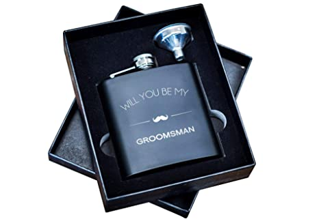 Will You Be My Groomsman Gift Flask Box Set Asking Groomsmen Flasks Gifts For Men Proposal Wedding Favor Extra Thick 5mil 304 Stainless Steel