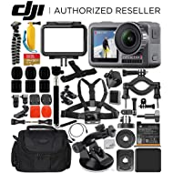 DJI Osmo Action 4K Camera with Deluxe Accessory Bundle – Includes: SanDisk Extreme 128GB microSDXC Memory Card + Carrying Case + Suction Cup Mount + Floating Handle + Flexible Tripod + More