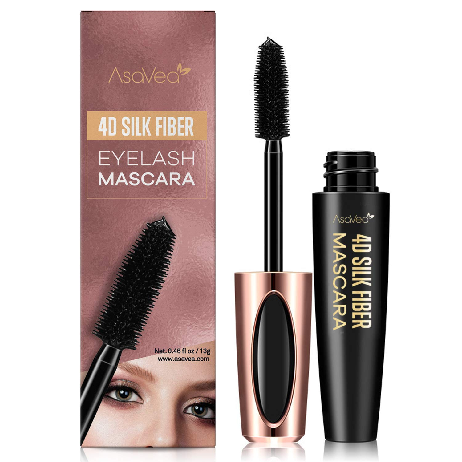 Natural 4D Silk Fiber Lash Mascara, Lengthening and Thick, Long Lasting, Waterproof & Smudge-Proof, All Day Exquisitely Lush, Full, Long, Thick, Smudge-Proof Eyelashes by AsaVea