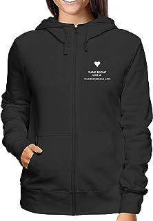 Sweatshirt a Capuche Zip Femme Noir TKC1123 Shine Bright Like A Star Performing Arts
