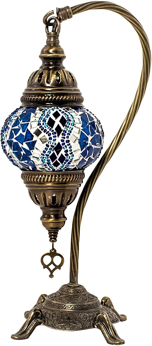 Swan Neck Series by TK BAZAAR Unique Globe Lampshade Turkish Mosaic Table Lamp,Stunning Moroccan Style