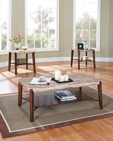 Acme 80085 3 Piece Nadav Faux Marble Top Coffee End Table Set