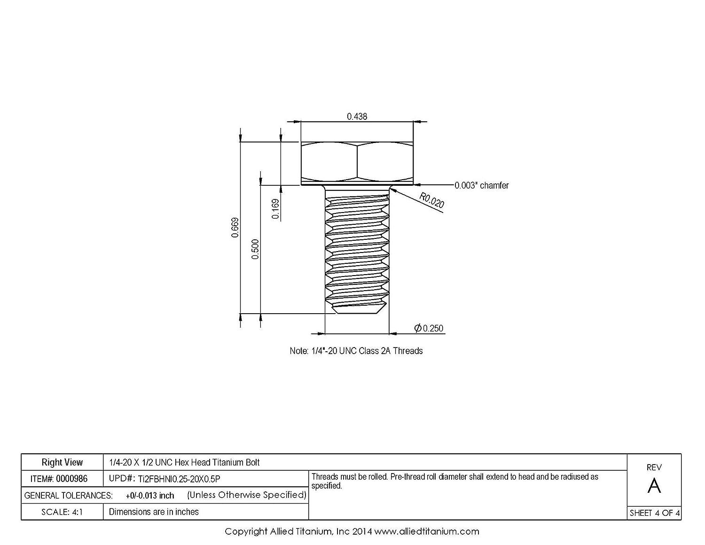 Inc Grade 2 Allied Titanium 0000986, CP Pack of 20 1//4-20 X 1//2 UNC Titanium Hex Head Bolt 610931004