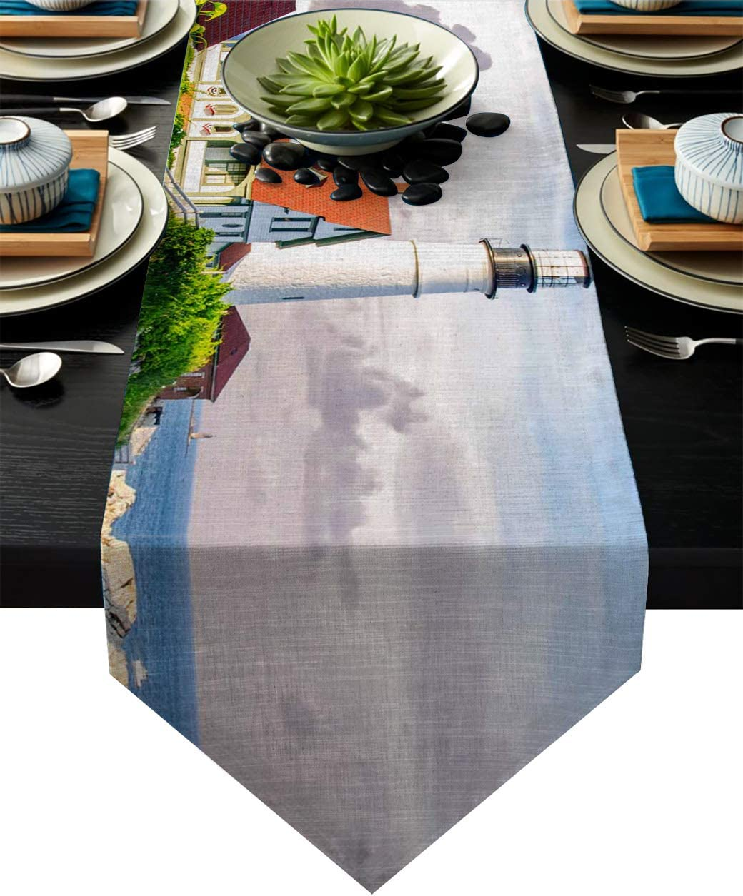 Mi Chanker Coastal House and Lighthouse Cotton Linen Table Runner for Catering Events Dinner Parties Wedding Spring Holiday Indoor or Outdoor Parties Summer Flower