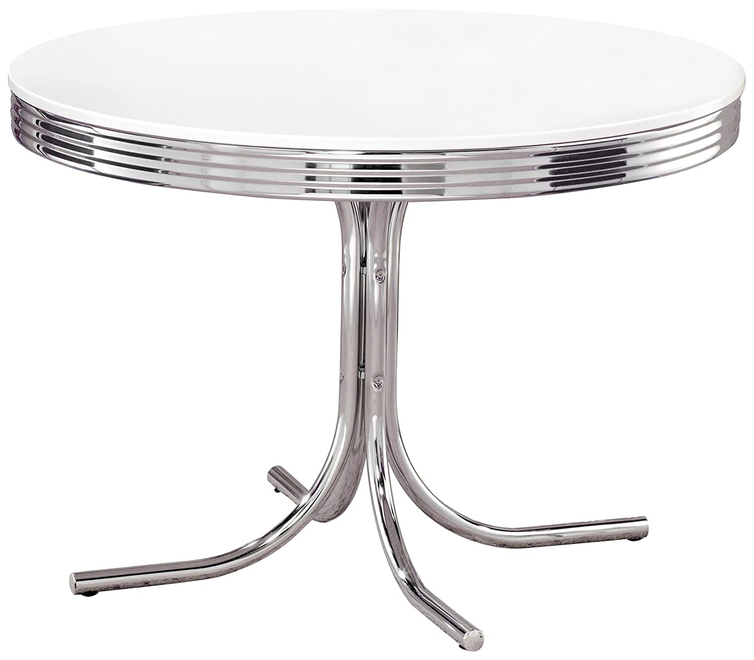 Amazon.com - Coaster Retro Round Dining Kitchen Table in Chrome ...