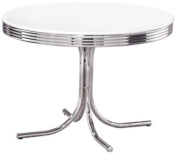 coaster retro round dining kitchen table in chrome   white amazon com   coaster retro round dining kitchen table in chrome      rh   amazon com