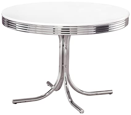 Ordinaire Retro Round Dining Table White And Chrome