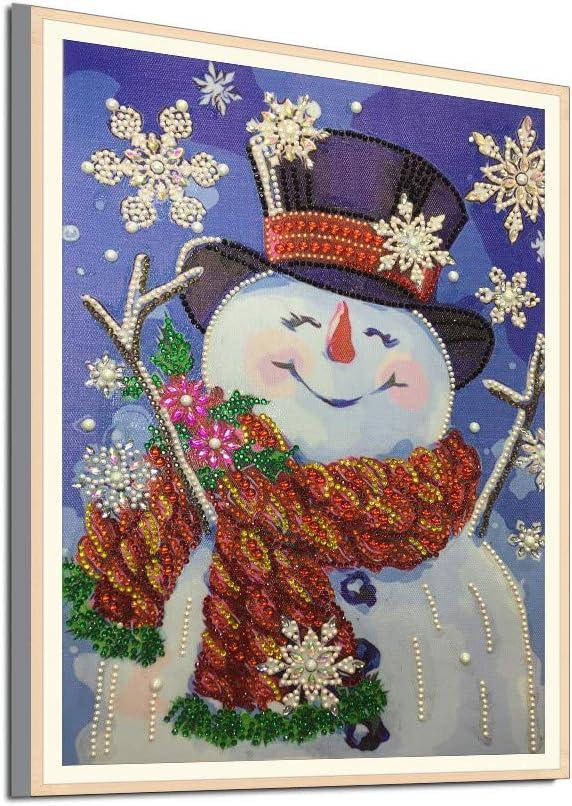 WARMWORD Pintura de Diamante en Forma Especial DIY 5D Kits de Punto de Cruz Lindo muñeco de Nieve de Navidad Diamond Embroidery Arts Craft Mosaic para la decoración navideña de la Pared del hogar