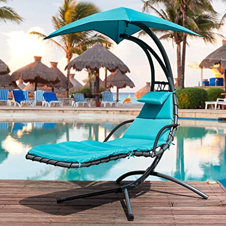 Sundale Outdoor Dream Chair with Umbrella Hanging Chaise Lounge Chair Arc Curved Hammock (Lake Blue : dream chair chaise lounge - Sectionals, Sofas & Couches