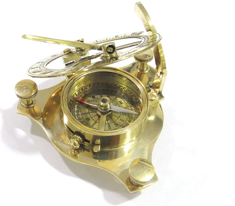 NauticalMart 3'' Brass Sundial Compass W/Case ~ Pocket Sundial Compass ~ Nautical Gift by NauticalMart