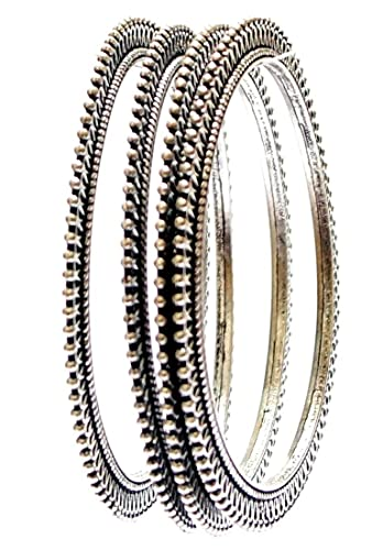Buy Mjjewel Oxidised Silver Bangle Set For Women Online At Low