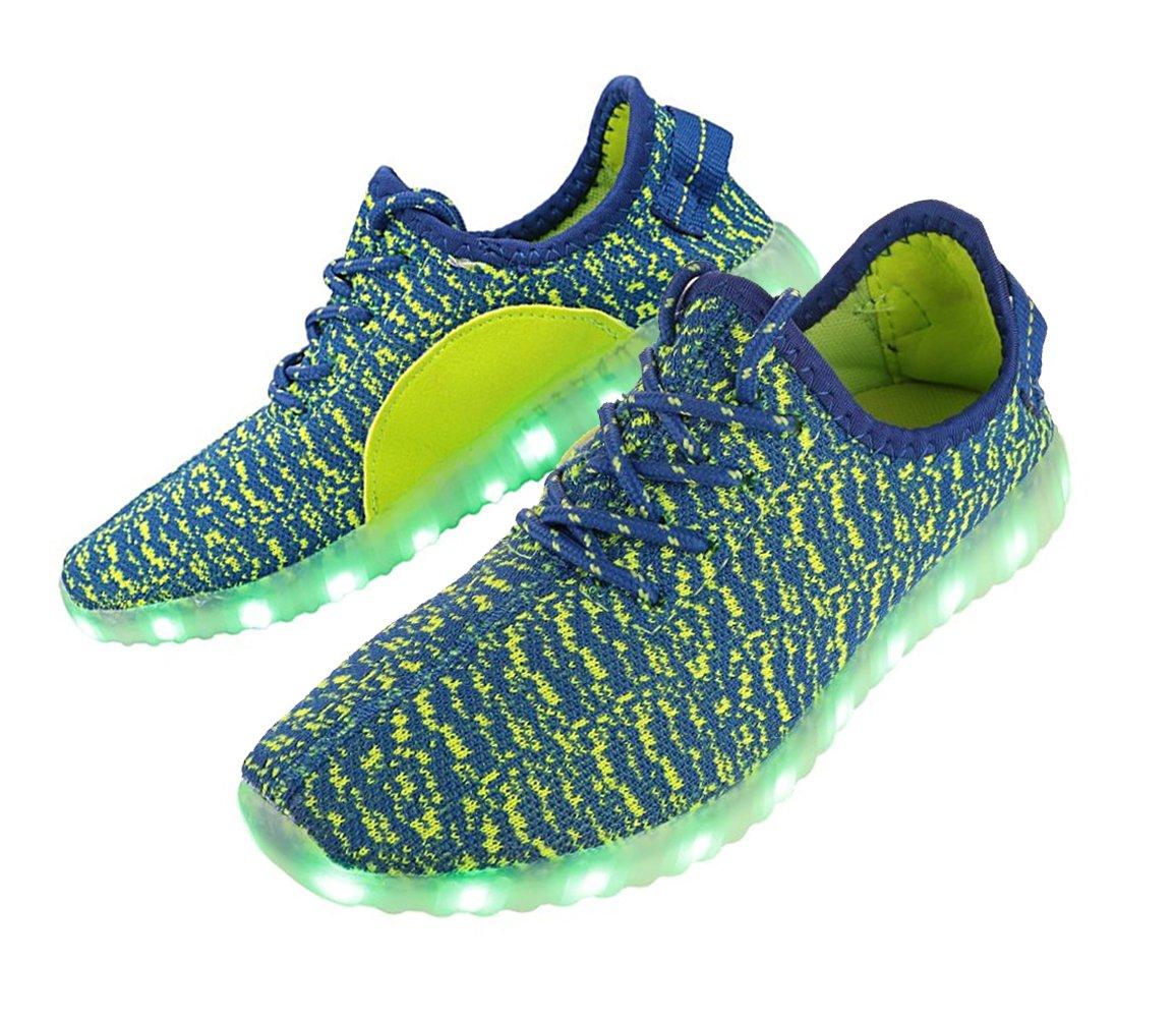 LED靴メンズレディースUSB充電ライトUp靴 B072C5G9JV 8.5 グリーンブルー グリーンブルー 8.5