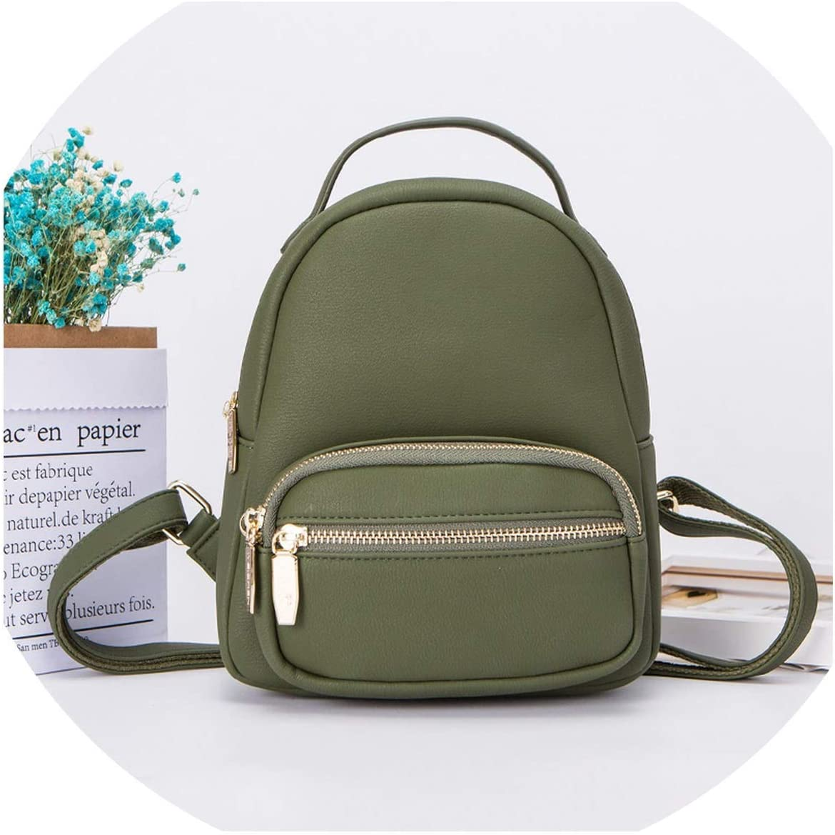 OPJKZSA New Many Departments Zaino da Donna in Pelle Morbida Touch Zaino da Donna Borsa a Tracolla Borsa da Donna di Moda Green