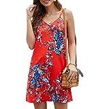 Bdcoco Women's V Neck Lace Shoulder Spaghetti Strap Sleeveless Mini Dresses