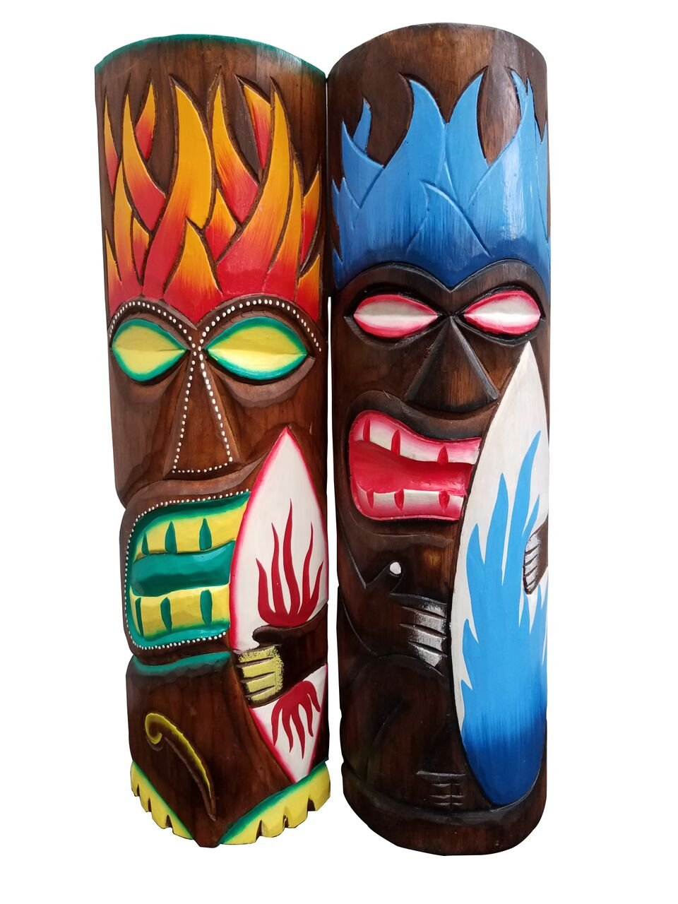All Seas Imports Set of Two Wooden Handcarved 20'' Tall Tiki Masks Hawaiian Beach Style with Surf Boards! by All Seas Imports