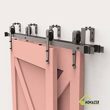Kit de herramientas para puerta corredera de HOMACER Bypass de 5 – 20 pies, diseño recto, color