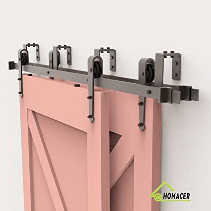 Homacer Sliding Barn Door Hardware Bypass Double Door Kit, 6FT Flat Track  U Shape