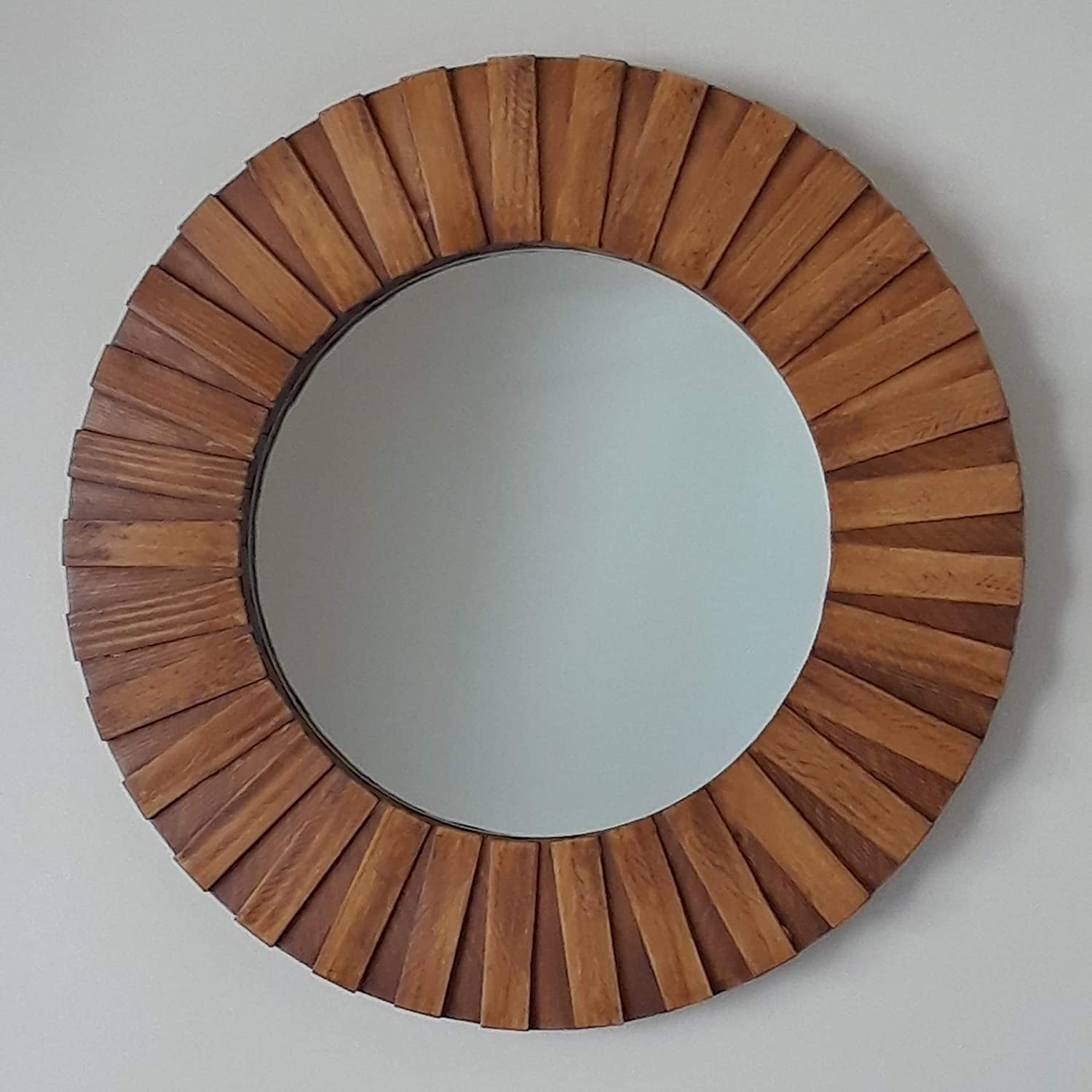 Round Wall Mirror Handmade 26' Teak Color