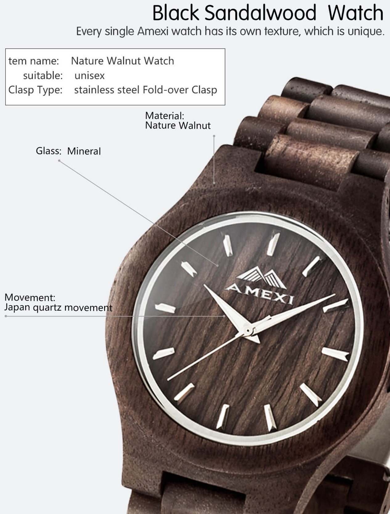 Amexi Holzuhren Damen mit Holz Armband und Quarzwerk
