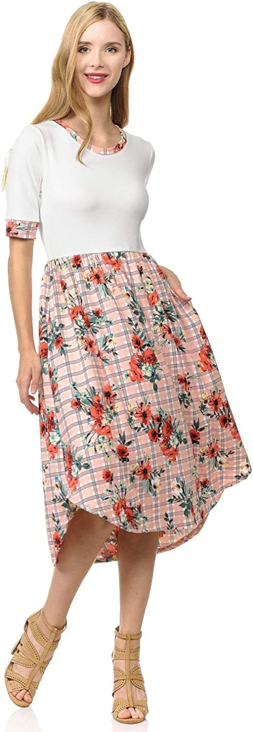 Pastel by Vivienne Women's Contrast Binding and Skirt Midi Dress