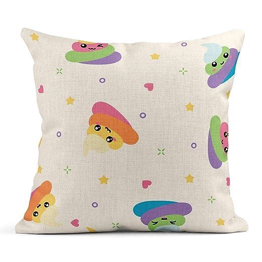 Kinhevao Cojín Poo Unicornio Cute Kawaii Rainbow Colorful ...