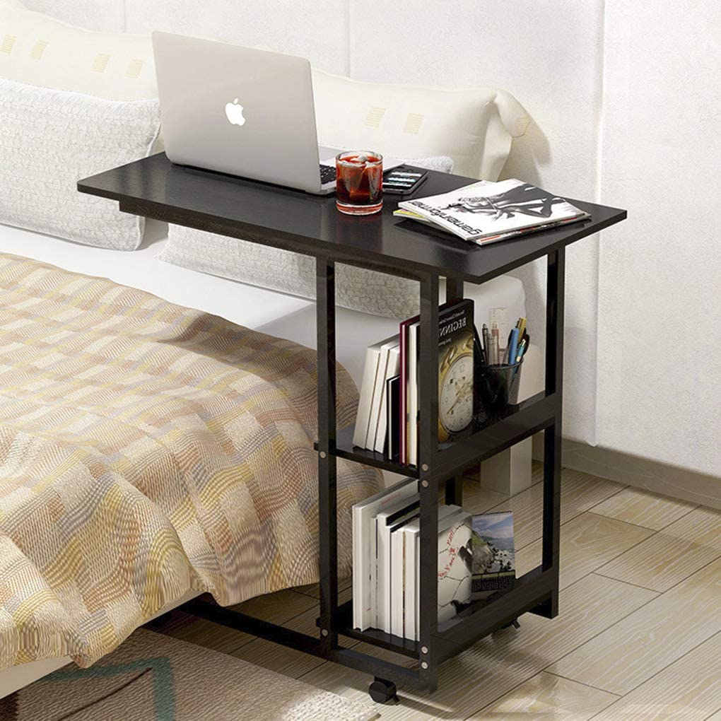 Overbed Table Rolling Bed Side Desk Laptop Stand Food Tray Table C Shape Sofa Couch Chair Side Table with Lockable Wheels for Home Room Office Reading Work Eating
