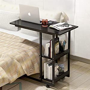Overbed Table with Wheels Heavy-Duty Movable Couch Sofa End Table with 2 Compartment Display Bookcase,C Shaped Mobile Laptop Stands Slide Computer Desk for Home Office Use