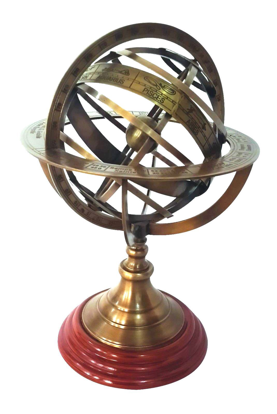 12'' Nautical Brass Armillary Sphere World Globe Rosewood Base Home Decor