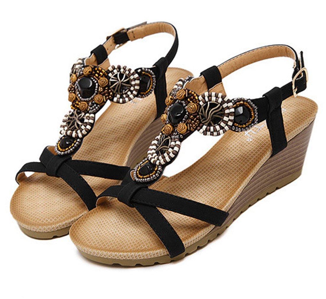 2348194171c2 ... AVENBER Women s Mid Heels Wedges Summer Sandals Sandals Sandals  Bohemian Gladiator Adjustable Buckles Straps Platform Shoes