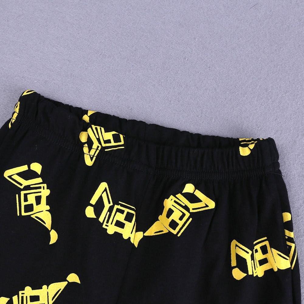 Jimmackey 2Pcs Bambino Ragazzo T-Shirt Cartoon Treno Camion Escavatore Camicia Cime Stampato Pantaloncini Neonato Abiti Set