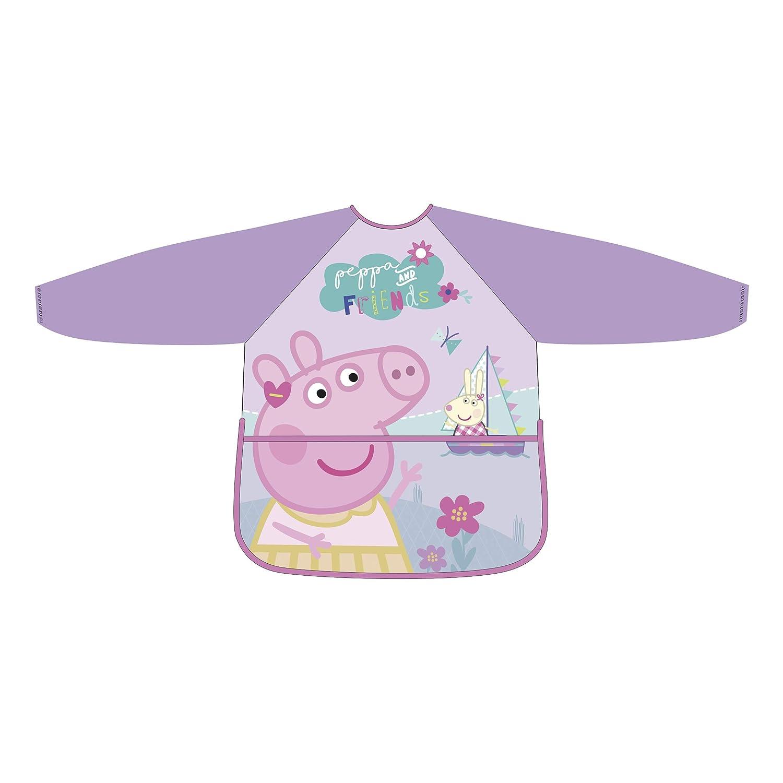 Peppa Pig Tablier rose pour fille manches longues PVC taille unique Arditex PP12206