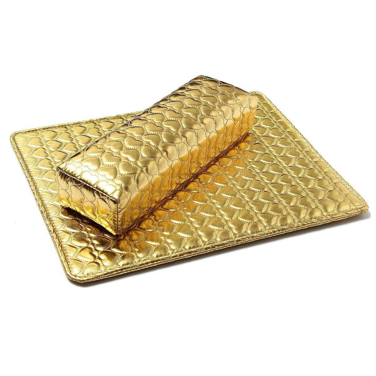 TOOGOO(R) Mano suave cojin almohada y apoyo de almohadilla Arte de una Sostenedor de apoyo del brazo manicura Accesorios del arte de una PU cuero Oro TOOGOO (R) 047139